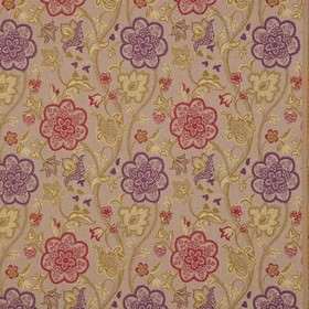 Genevieve - Jewel - Rich purple, red, khaki, pale yellow and pinkish grey polyester and cotton fabric with pretty, detailed floral patterns