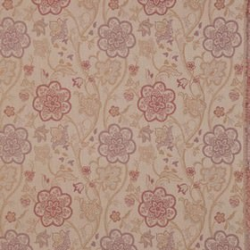 Genevieve - Mauve - Polyester and cotton blend fabric made with pretty, detailed floral designs in muted shades of purple, red and light brown