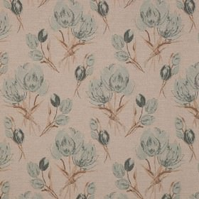 Gigi - Duckegg - Polyester, viscose and linen blend fabric featuring a rough floral design in light shades of blue, cream and grey