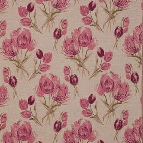 Gigi - Fuchsia - Light grey polyester, viscose and linen blend fabric, with large, rough florals in dark pink, beige and khaki shades