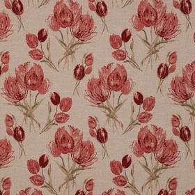 Gigi - Rouge - Large, rough floral patterns in dark and light shades of scarlet and green on light grey polyester, viscose and linen fabric