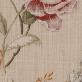 Harriet - Chintz - Muted, dusky red, green and grey shades making up a vintage style floral print on fabric made from 100% cotton
