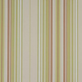 Beachcomber - Pampas - 100% cotton fabric with a vertical striped design in very pale grey, off-white, brown and light apple green