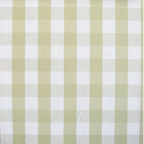 Breeze - Pampas - Pale green vertical bands, very pale grey horizontal bands and a white background on a 100% cotton fabric's checked design