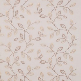 Katrina - Natural - White 100% polyester fabric patterned with delicate, pretty leaves made in lustrous cream and light brown colours