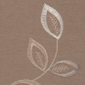 Katrina - Stone - A pretty, elegant leaf pattern covering 100% polyester fabric in grey-beige, white,silver-grey and light beige