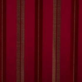 Lynton Stripe - Rosso - Deep, indulgent maroon and wine colours making up a vertical stripe design on viscose and polyester blend fabric