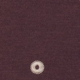 Mia - Aubergine - A small white circle and dots patterning 100% polyester fabric made in a very dark shade of purple-grey