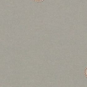 Mia - Duckegg - Light grey 100% polyester fabric behind a small, dainty, beige coloured pattern of small circles and dots