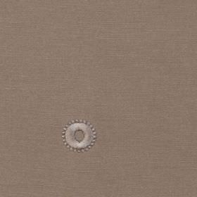 Mia - Stone - 100% polyester fabric made in dark grey-brown, with small, dainty circles and dots in lustrous silver-grey