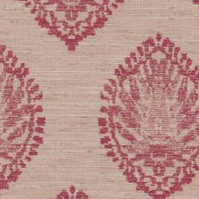 Monique - Fuchsia - Polyester, viscose and linen blend fabric made in creamy beige, with very detailed, roughly printed, light red patterns