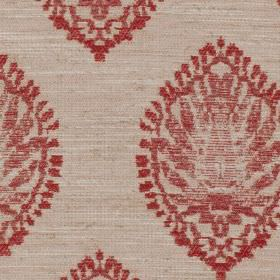 Monique - Rouge - Blood red and pale grey coloured polyester, viscose and linen blend fabric, featuring detailed, roughly printed patterns