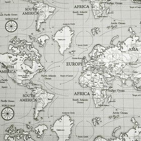 Maps - Grey - A pale grey 100% cotton fabric background to a white and black-edged map of the world repeatedly printed on top
