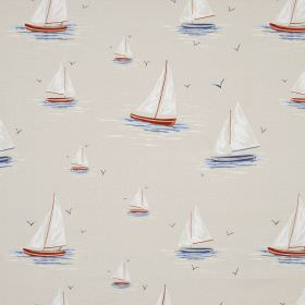 Clipper - Heritage - Fabric made from very pale grey coloured 100% cotton, patterned with sailboats in white and dusky shades of red and blu