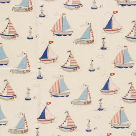 Regatta - Blue - Red, light blue, navy blue and off-white sailboats and buoys patterning 100% cotton fabric in a warm cream colour