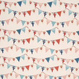 Bunting - Blue - Fun bunting patterns in reds, blues and pale pinks, on a pinkish cream coloured 100% cotton fabric background