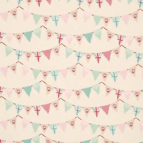 Bunting - Pink - 100% cotton fabric in cream, covered with pastel pink, green and cream coloured patterned bunting