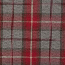 Balmoral - Cherry - Fabric made out of polyester and cotton decorated with chequered design in grey and cherry red