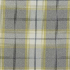 Balmoral - Citrus - Light grey fabric made from polyester and cotton decorated with intertwining wide stripes in yellow and grey