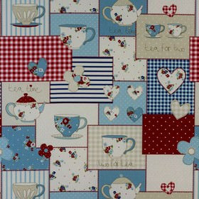Teatime - Blue - Teapots and teacups on a patterned patchwork style 100% cotton fabric in deep red, cream, white and shades of blue