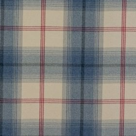Balmoral - Royal - White polyester and cotton fabric decorated with chequered pattern of wide blue and thin red stripes