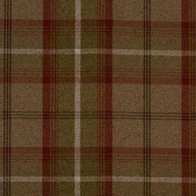 Balmoral - Rust - Polyester and cotton fabric in grey presenting chequered design formed by wide red and thin black stripes
