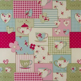 Teatime - Pink - Floral, dotted and patterned blocks of red, pink, green and cream patchwork style cotton fabric with teapots and teacups