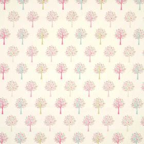 Orchard - Candy - Tiny trees in bright pink, lime green and aqua blue lined up in rows on a 100% cotton fabric background in cream