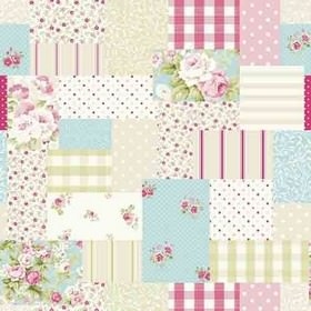 Vintage Patch - Candy - Patchwork style cotton fabric with blocks of floral, dotted, striped and checked designs in white, pinks, green and