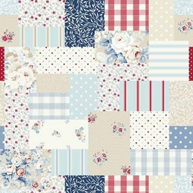 Vintage Patch - Blue - Several shades of blue, cream, white and brick red making up patchwork style designs on fabric made entirely from cot