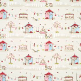 Summer Holiday - Blue - Cream coloured 100% cotton fabric covered with a fun, colourful design of houses, swings, tents, bicycles and more