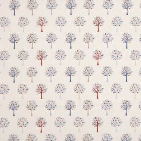 Orchard - Blue - Tree patterned 100% cotton fabric in dark blue, light blue, light grey and brick red on an off-white background