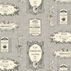 Vintage Label - Charcoal - French perfume themed 100% cotton fabric featuring labels and text in mid-grey and cream colours