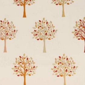 Orchard - Autumn - Fabric made out of cotton in dirty white featuring a design of orange autumn trees turned to the left