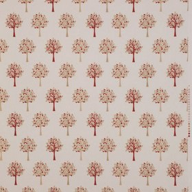 Orchard - Chintz - Fabric made from cotton in white decorated with an interesting pattern of trees with leaves in red and beige