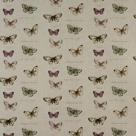 Butterflies - Linen - Butterflies printed in off-white, light purple and blue on a very pale grey coloured 100% cotton fabric background