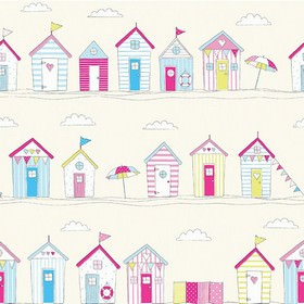 Beach Huts - Pink - A fun beach hut design repeatedly printed on 100% cotton fabric in cream, red, pale blue, aqua blue and light green