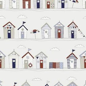 Beach Huts - Blue - 100% cotton fabric with a fun beach hut design in dark shades of green and orange, as well as cream, grey and beige