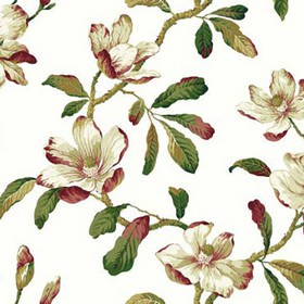 Amelia - Chintz - White 100% cotton fabric printed with large leaves in white, light grey and dark shades of raspberry, brown and green