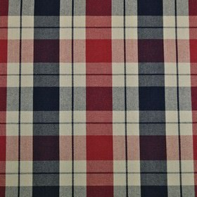 Washington - Heritage - Bright red, navy blue and beige checked fabric made entirely from cotton