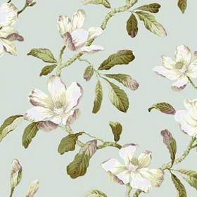 Amelia - Duckegg - Forest green, dusky purple and white shades making up a large leaf pattern on a pale blue 100% cotton fabric background