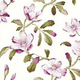 Amelia - Fuchsia - Fabric made from 100% cotton printed with a large leaf design in purple, green, beige and white shades