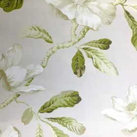 Amelia - Linen - Large, elegant flowers, leaves and branches printed in white, light grey and green shades on 100% cotton fabric