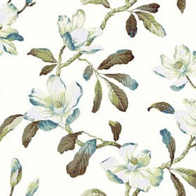 Amelia - Sapphire - Light green, sky blue, green-grey and white leaves printed on a white 100% cotton fabric background