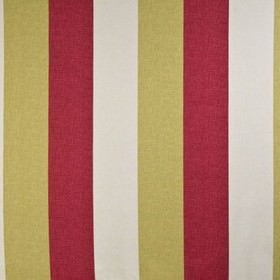 Bali - Chintz - Wide milk white, sandy brown and scarlet coloured stripes running down fabric made from 100% cotton