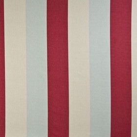 Bali - Duckegg - 100% cotton fabric made with a simple, wide vertical stripe design inlight red and chalk white colours