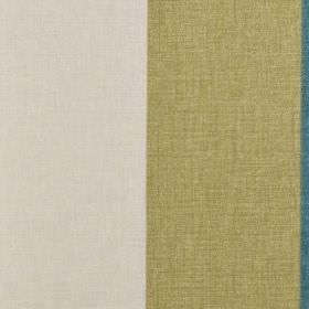 Bali - Teal - Wide, simple vertical stripes running down fabric made from white, wafer and marine blue coloured 100% cotton