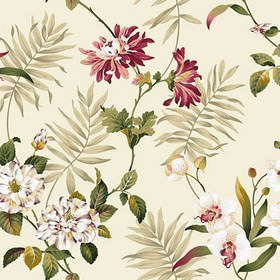 Bayswater - Antique - Various leaves in light grey, raspberry and olive green colours printed with white flowers on white 100% cotton fabric