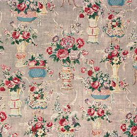 Blush China - Grey - Elegant urns and bowls with lavish roses and leaves printed on bold 100% linen fabric in cream, grey, red, green & blue