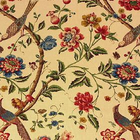 Elinors Chinese - Cream Black - Warm cream, brown, red, green and blue shades making up a bird, leaf, floral and branch print on 100% linen